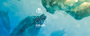 bio business cards with a woman and dolphins screen