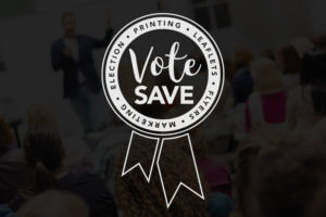 vote save marketing printing logo