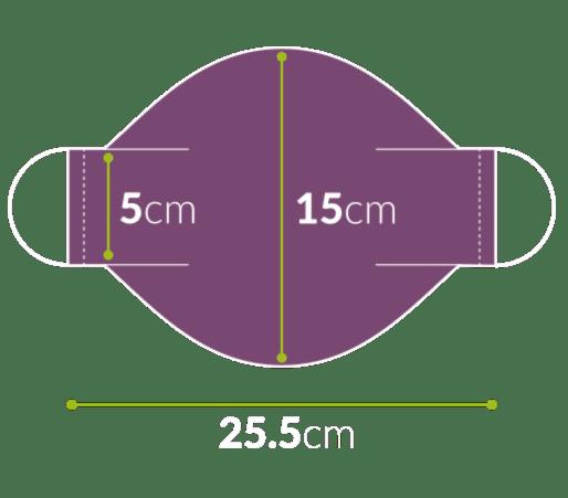 Regular Adult 5x15 Face Mask Diagram